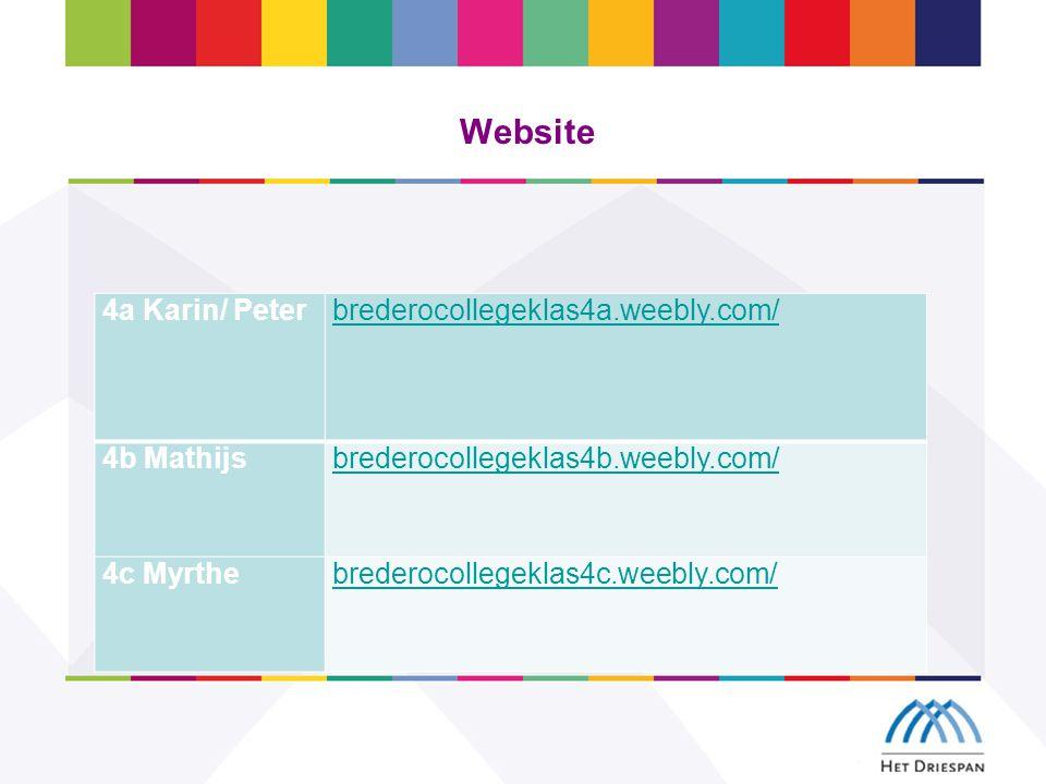 Website 4a Karin/ Peterbrederocollegeklas4a.weebly.com/ 4b Mathijsbrederocollegeklas4b.weebly.com/ 4c Myrthebrederocollegeklas4c.weebly.com/