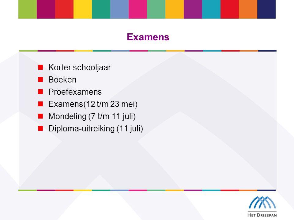 Examens Korter schooljaar Boeken Proefexamens Examens(12 t/m 23 mei) Mondeling (7 t/m 11 juli) Diploma-uitreiking (11 juli)