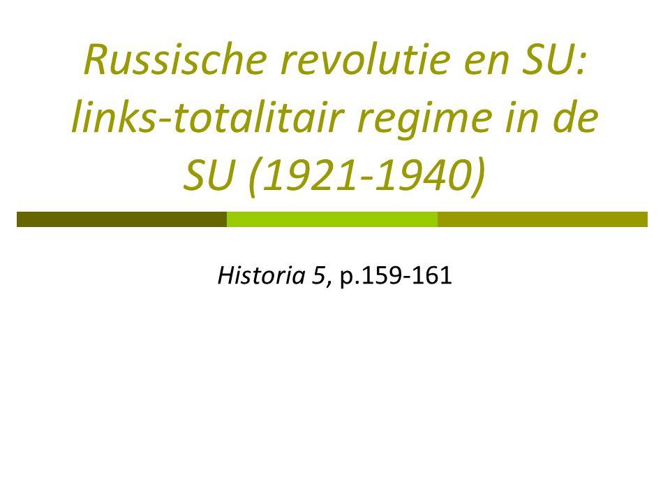 Russische revolutie en SU: links-totalitair regime in de SU (1921-1940) Historia 5, p.159-161