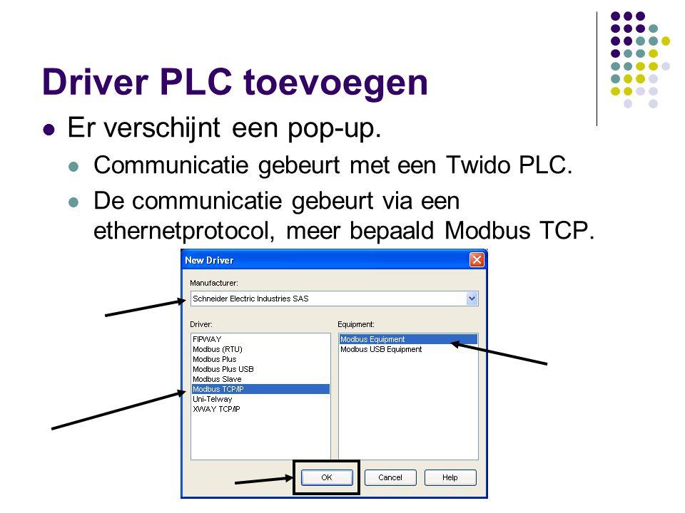 Driver PLC toevoegen Er verschijnt een pop-up.Communicatie gebeurt met een Twido PLC.