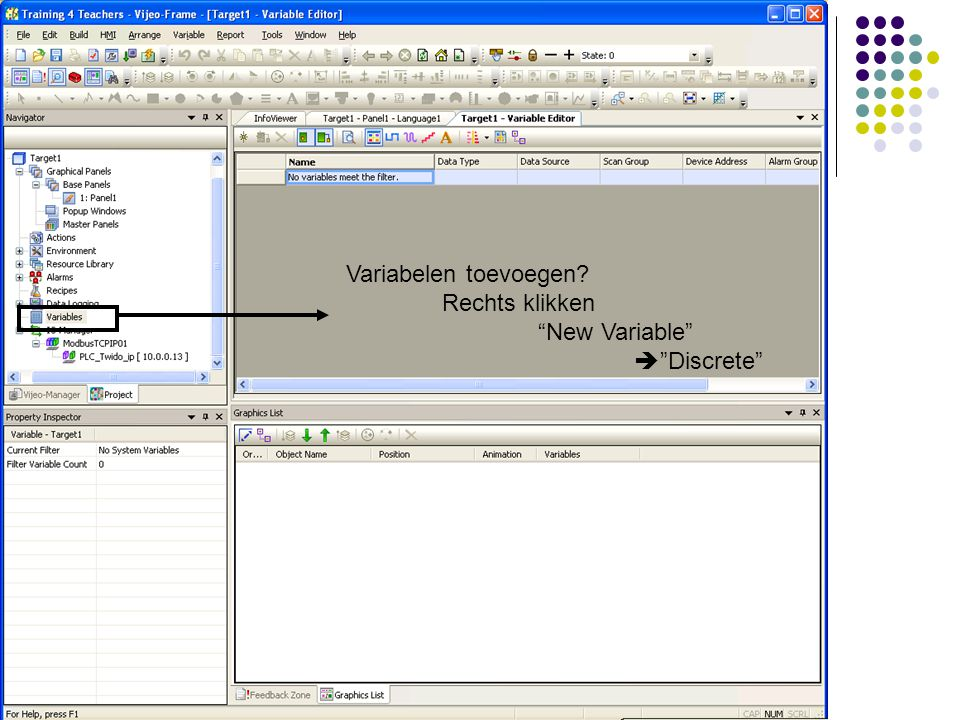 Variabelen toevoegen? Rechts klikken New Variable  Discrete