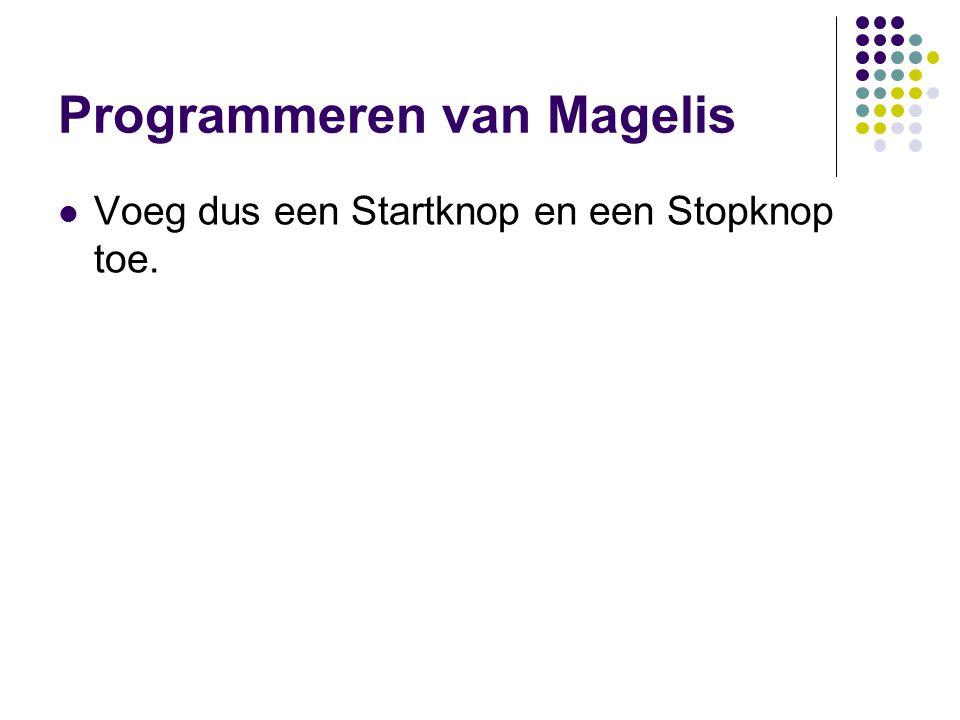 Programmeren van Magelis Voeg dus een Startknop en een Stopknop toe.