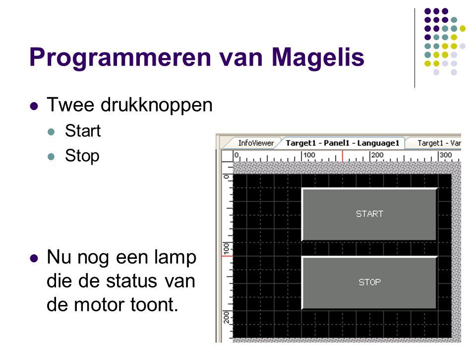 Programmeren van Magelis Twee drukknoppen Start Stop Nu nog een lamp die de status van de motor toont.