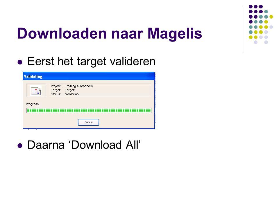 Downloaden naar Magelis Eerst het target valideren Daarna 'Download All'