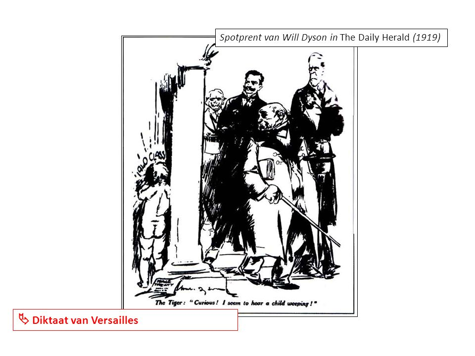 Spotprent van Will Dyson in The Daily Herald (1919)  Diktaat van Versailles