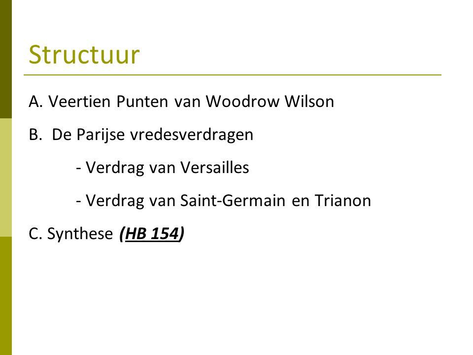 Structuur A. Veertien Punten van Woodrow Wilson B. De Parijse vredesverdragen - Verdrag van Versailles - Verdrag van Saint-Germain en Trianon C. Synth
