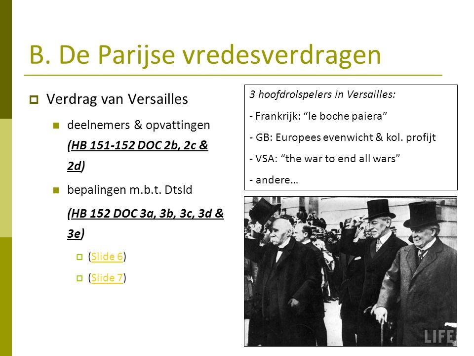 B. De Parijse vredesverdragen  Verdrag van Versailles deelnemers & opvattingen (HB 151-152 DOC 2b, 2c & 2d) bepalingen m.b.t. Dtsld (HB 152 DOC 3a, 3