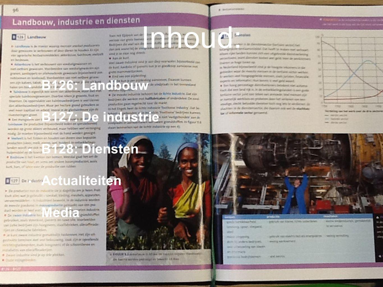B126: Landbouw B127: De industrie B128: Diensten Actualiteiten Media Inhoud: