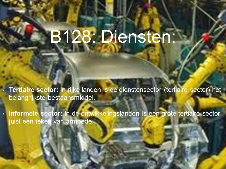 B128: Diensten: Tertiaire sector: In rijke landen is de dienstensector (tertiaire sector) het belangrijkste bestaansmiddel. Informele sector: In de on