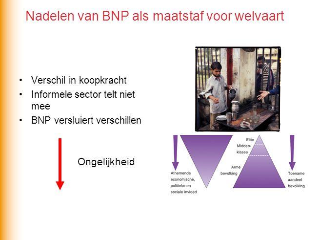 Verschil in koopkracht Informele sector telt niet mee BNP versluiert verschillen Ongelijkheid Nadelen van BNP als maatstaf voor welvaart