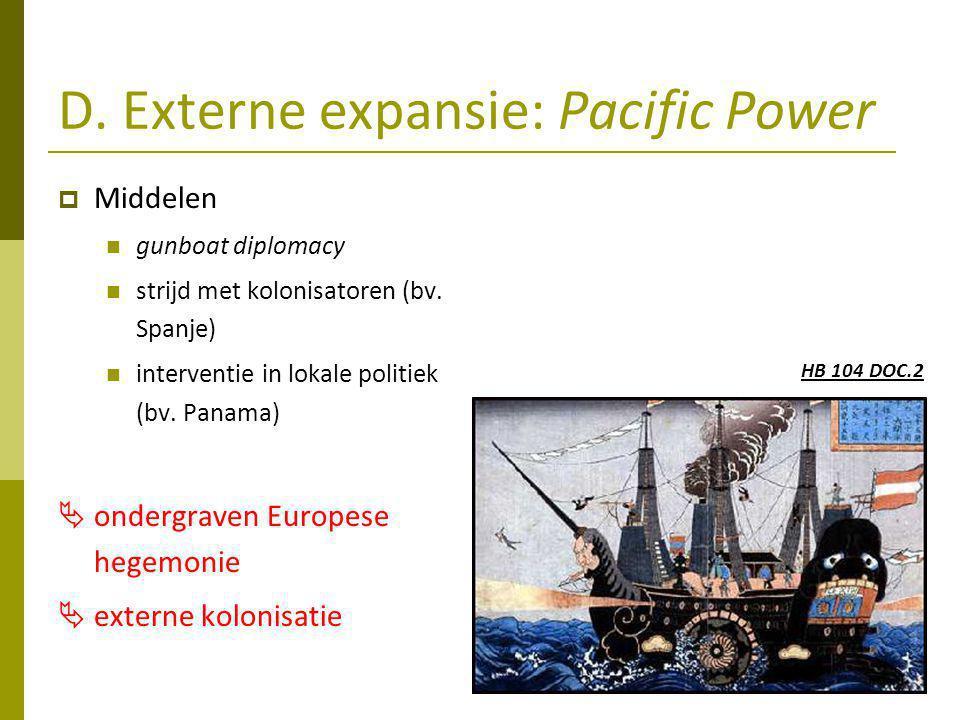 D.Externe expansie: Pacific Power  Middelen gunboat diplomacy strijd met kolonisatoren (bv.