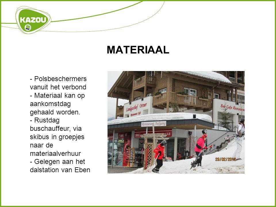 MATERIAAL - Polsbeschermers vanuit het verbond - Materiaal kan op aankomstdag gehaald worden.