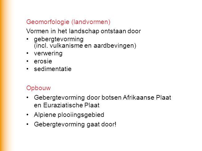 Geomorfologie (landvormen) Vormen in het landschap ontstaan door gebergtevorming (incl.