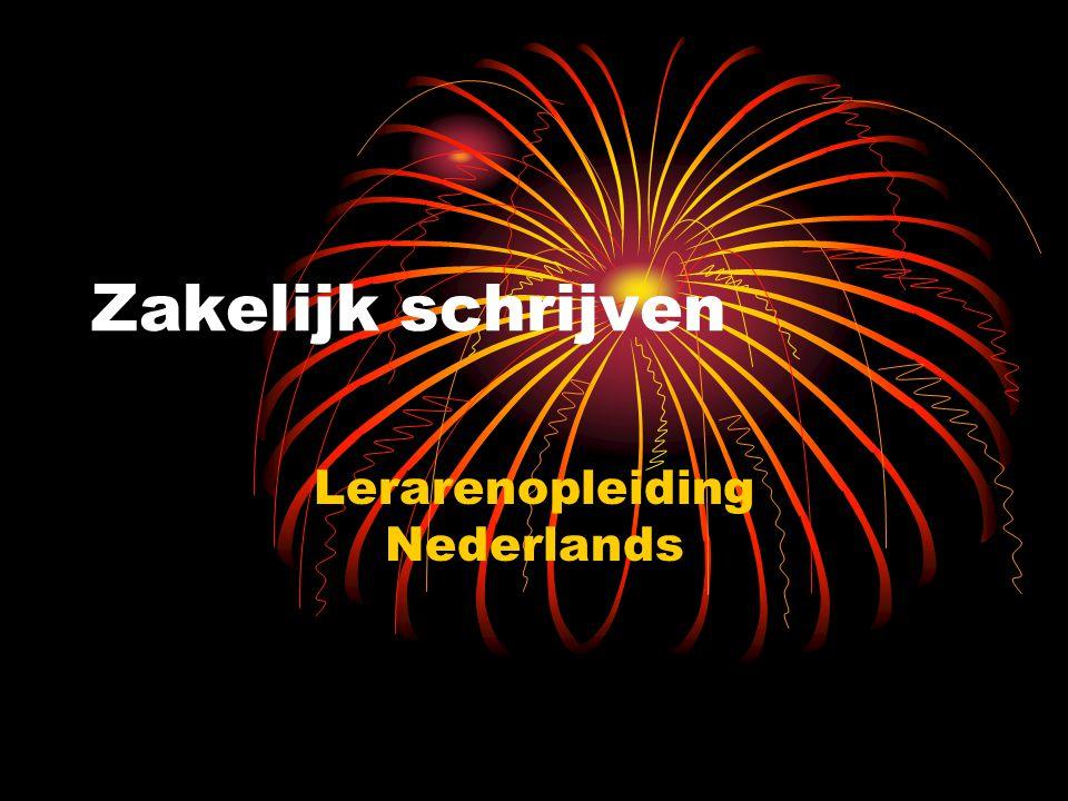 Zakelijk schrijven Lerarenopleiding Nederlands