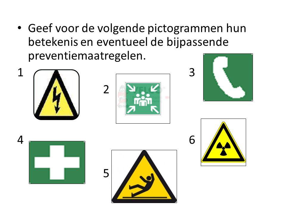 Geef voor de volgende pictogrammen hun betekenis en eventueel de bijpassende preventiemaatregelen. 13 2 46 5