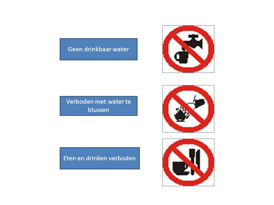 Geen drinkbaar water Verboden met water te blussen Eten en drinken verboden
