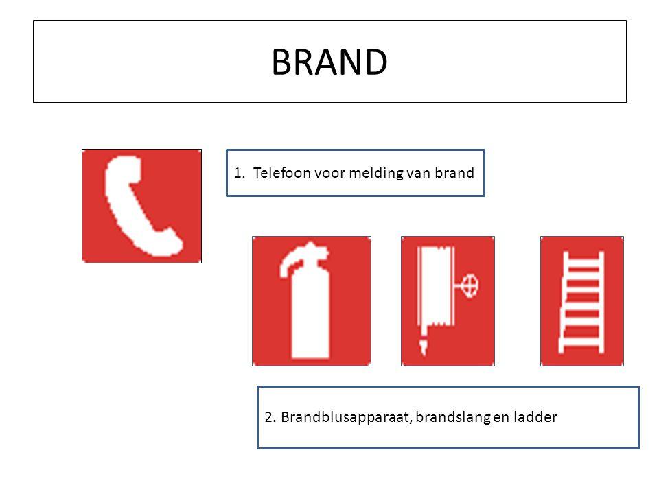 BRAND 1. Telefoon voor melding van brand 2. Brandblusapparaat, brandslang en ladder