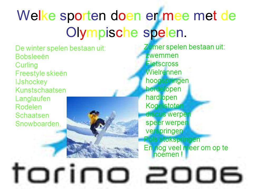 Welke sporten doen er mee met de Olympische spelen. De winter spelen bestaan uit: Bobsleeën Curling Freestyle skieën IJshockey Kunstschaatsen Langlauf