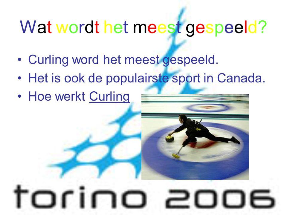 Wat wordt het meest gespeeld? Curling word het meest gespeeld. Het is ook de populairste sport in Canada. Hoe werkt Curling