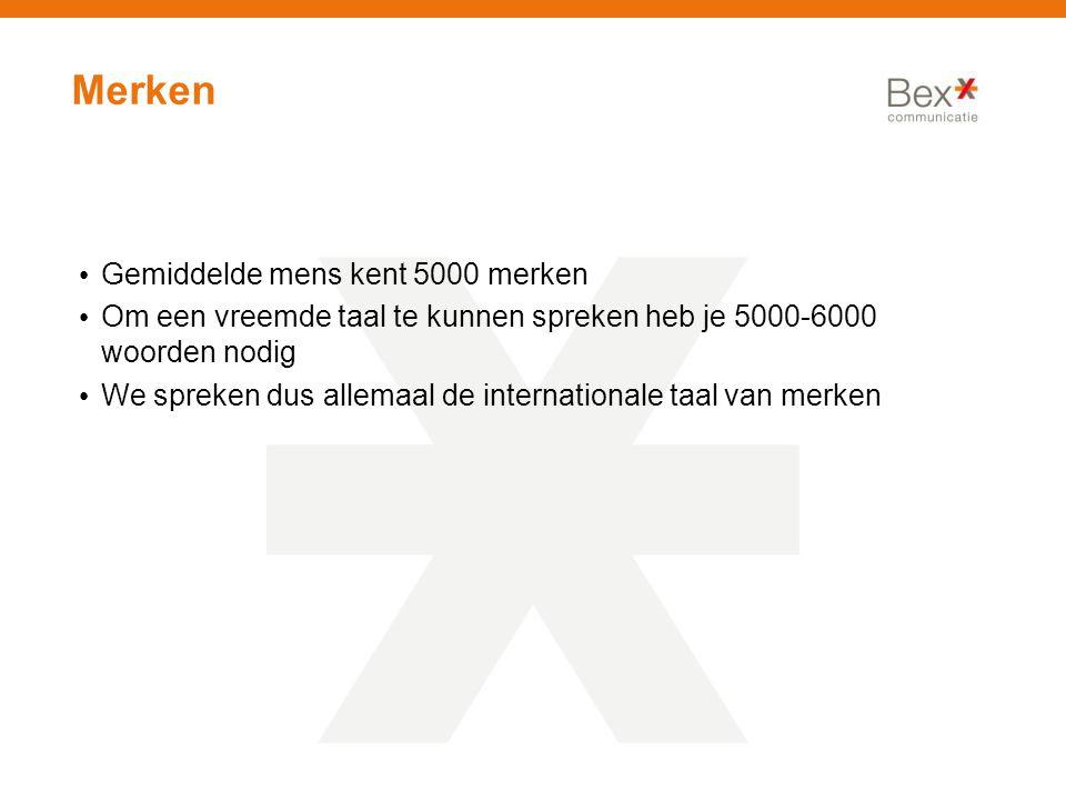 Merken Gemiddelde mens kent 5000 merken Om een vreemde taal te kunnen spreken heb je 5000-6000 woorden nodig We spreken dus allemaal de internationale taal van merken