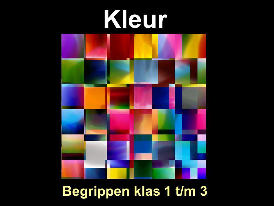 Primaire + Secundaire +Tertiaire Primair : Rood Geel Blauw Secundair : Paars Groen Oranje Tertiair : Tussenliggende kleuren Geel-Groen Geel-Oranje Rood-Oranje Rood-Paars Blauw-Paars Blauw-Groen ALLE kleuren in de kleurencirkel noemen we verzadigde kleuren.
