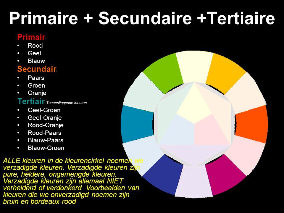 Paars Oranje Groen: Secundaire kleuren Kleuren van de 2 de orde De eigenschap van de secundaire kleuren zijn verzadigde kleuren (net als de primaire).