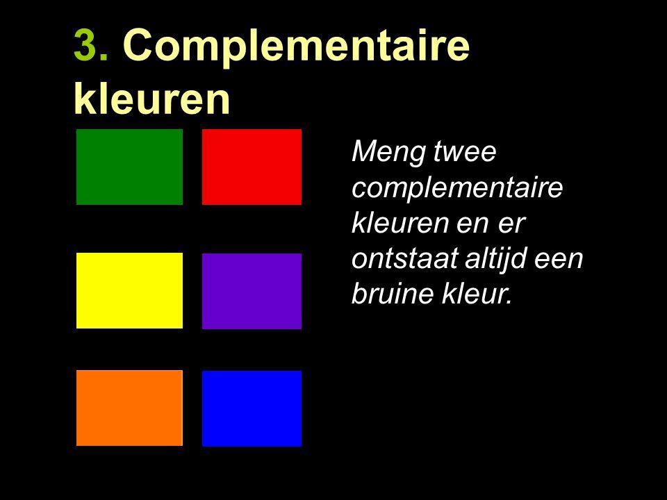 3. Complementair contrast. Complementaire kleuren zijn elkaars tegenovergestelde kleuren. Deze kleuren versterken elkaar. Wanneer je ze naast elkaar z