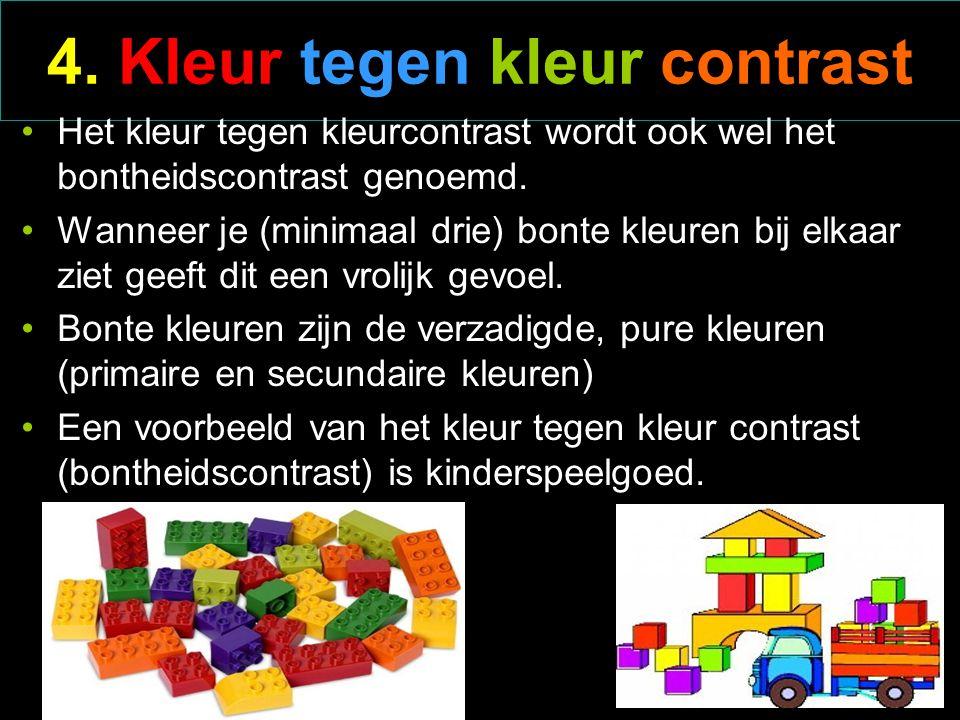 3. Complementair kleurcontrast Bv. geel / paars