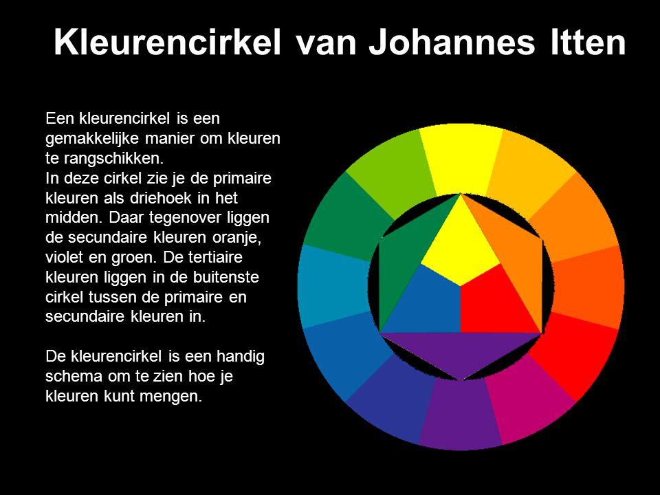 Kleurencirkel van Johannes Itten Een kleurencirkel is een gemakkelijke manier om kleuren te rangschikken.