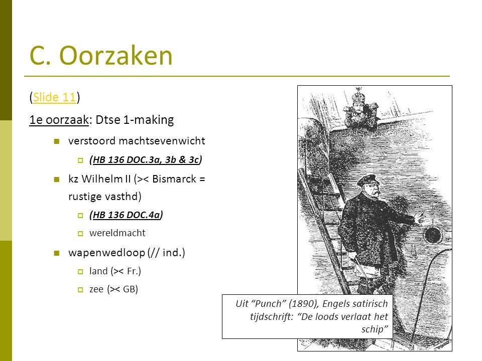 C. Oorzaken (Slide 11)Slide 11 1e oorzaak: Dtse 1-making verstoord machtsevenwicht  (HB 136 DOC.3a, 3b & 3c) kz Wilhelm II (>< Bismarck = rustige vas