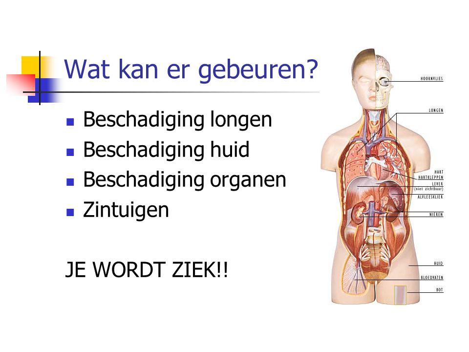 Wat kan er gebeuren? Beschadiging longen Beschadiging huid Beschadiging organen Zintuigen JE WORDT ZIEK!!
