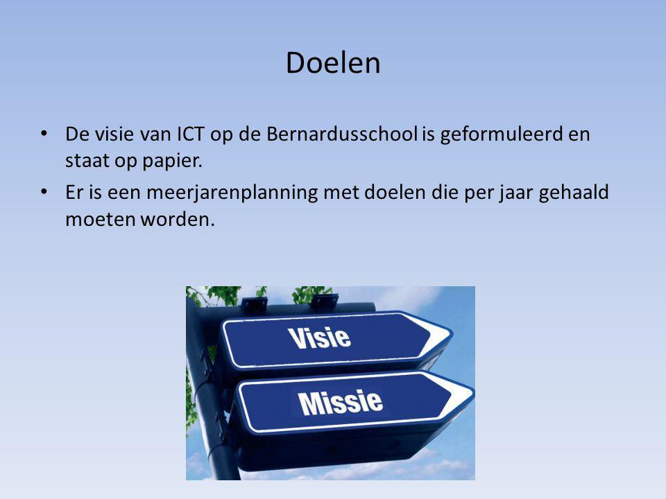 Doelen De visie van ICT op de Bernardusschool is geformuleerd en staat op papier. Er is een meerjarenplanning met doelen die per jaar gehaald moeten w