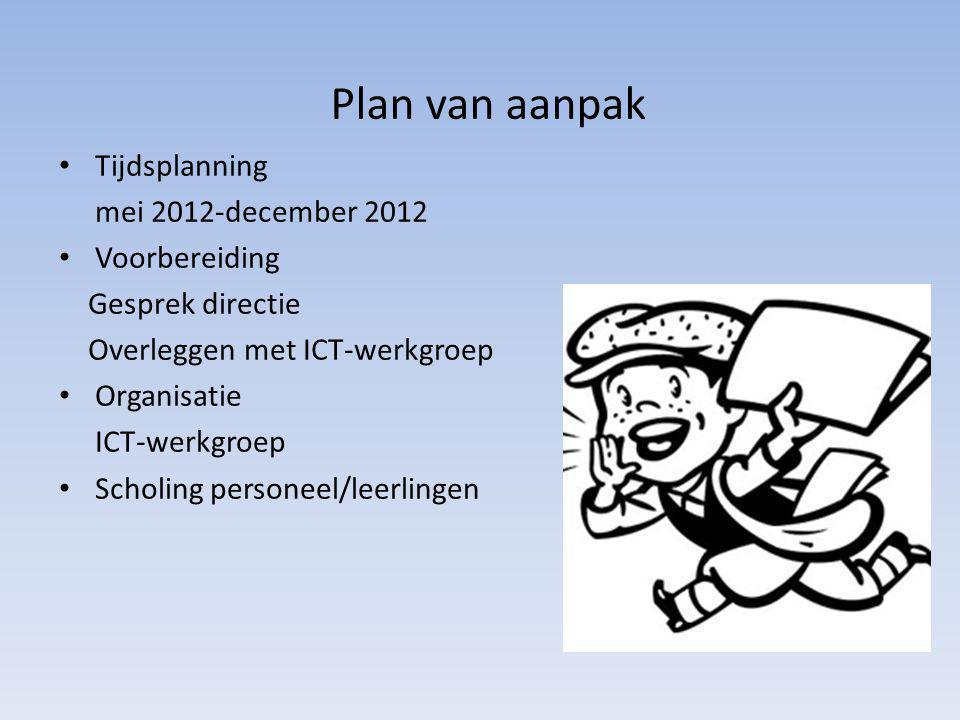 Plan van aanpak Tijdsplanning mei 2012-december 2012 Voorbereiding Gesprek directie Overleggen met ICT-werkgroep Organisatie ICT-werkgroep Scholing pe