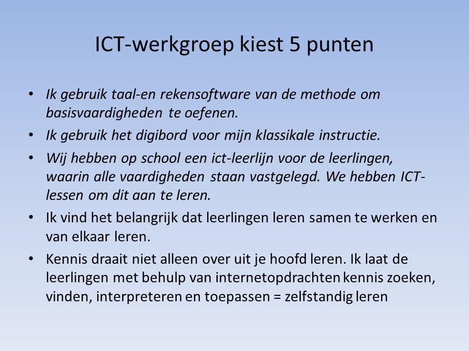 ICT-werkgroep kiest 5 punten Ik gebruik taal-en rekensoftware van de methode om basisvaardigheden te oefenen. Ik gebruik het digibord voor mijn klassi