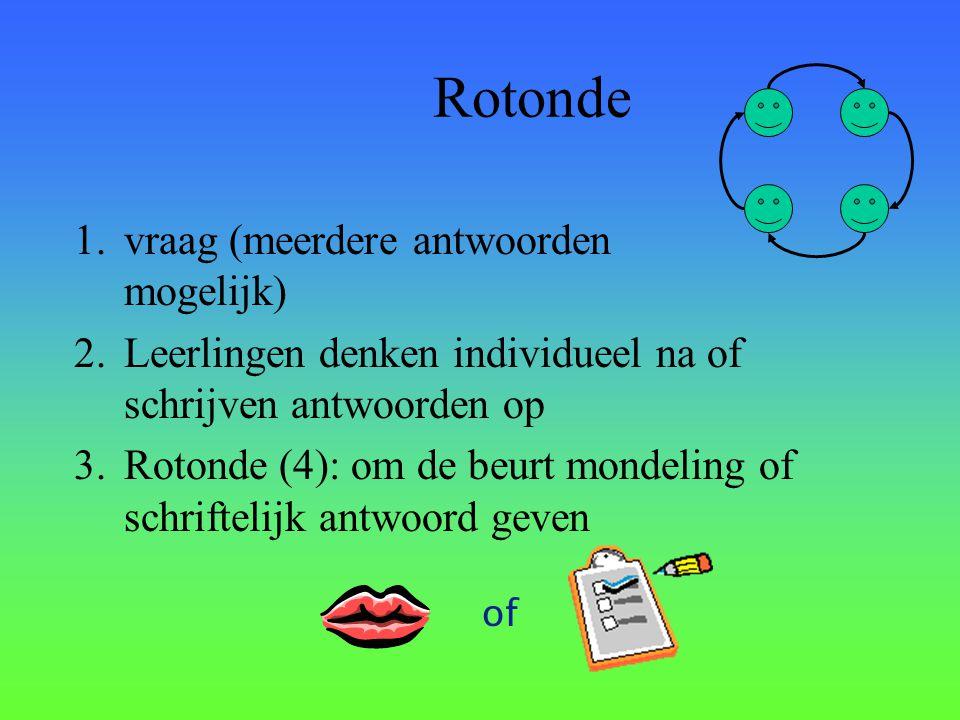 Rotonde 1.vraag (meerdere antwoorden mogelijk) 2.Leerlingen denken individueel na of schrijven antwoorden op 3.Rotonde (4): om de beurt mondeling of s