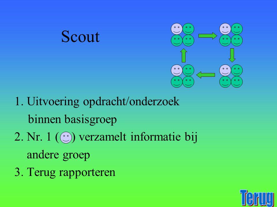 Scout 1. Uitvoering opdracht/onderzoek binnen basisgroep 2. Nr. 1 ( ) verzamelt informatie bij andere groep 3. Terug rapporteren