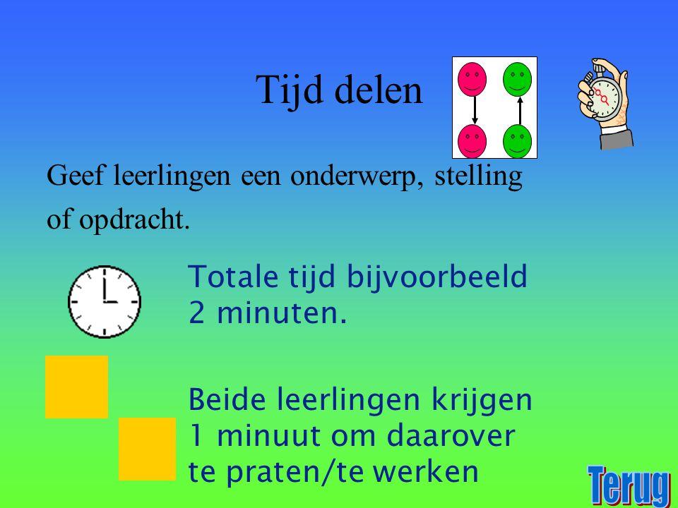 Tijd delen Geef leerlingen een onderwerp, stelling of opdracht. Totale tijd bijvoorbeeld 2 minuten. Beide leerlingen krijgen 1 minuut om daarover te p