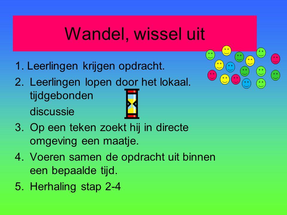 Wandel, wissel uit 1. Leerlingen krijgen opdracht. 2.Leerlingen lopen door het lokaal. tijdgebonden discussie 3.Op een teken zoekt hij in directe omge