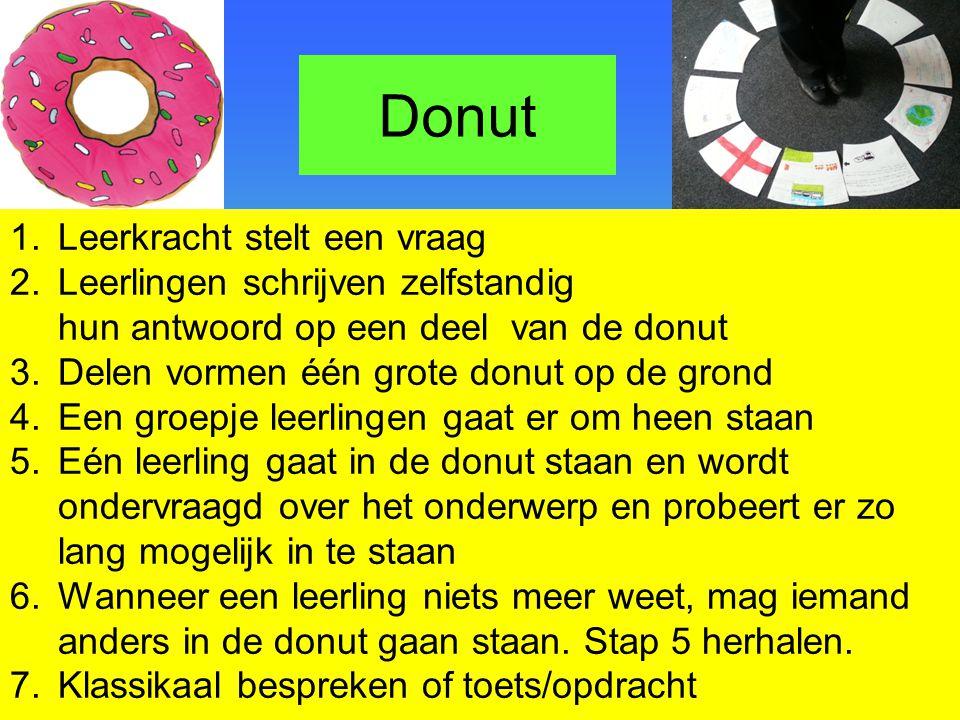 Donut 1.Leerkracht stelt een vraag 2.Leerlingen schrijven zelfstandig hun antwoord op een deel van de donut 3.Delen vormen één grote donut op de grond