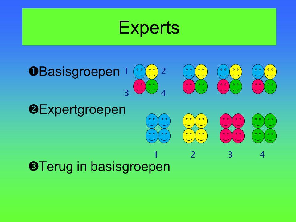 Experts  Basisgroepen  Expertgroepen  Terug in basisgroepen 1 34 2 1432