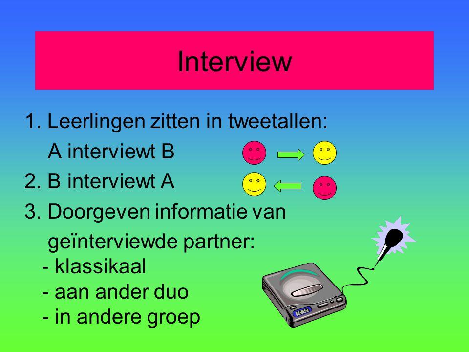 Interview 1. Leerlingen zitten in tweetallen: A interviewt B 2. B interviewt A 3. Doorgeven informatie van geïnterviewde partner: - klassikaal - aan a