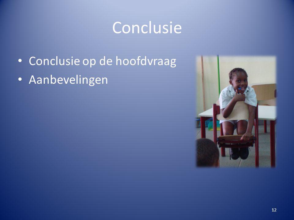 Conclusie Conclusie op de hoofdvraag Aanbevelingen 12