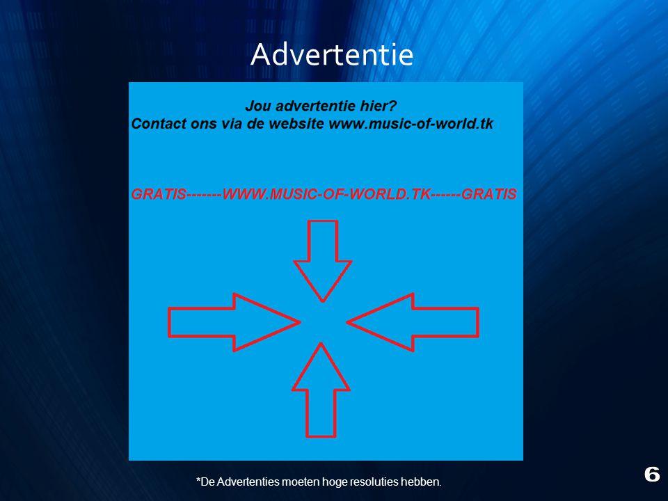 *De Advertenties moeten hoge resoluties hebben.