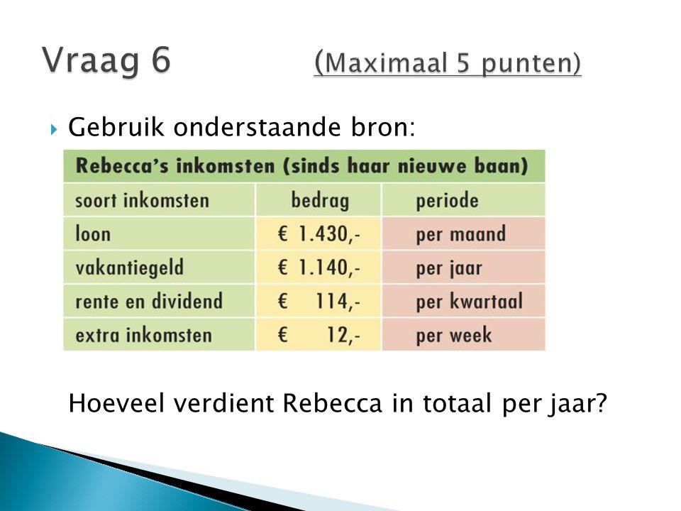  Gebruik onderstaande bron: Hoeveel verdient Rebecca in totaal per jaar?