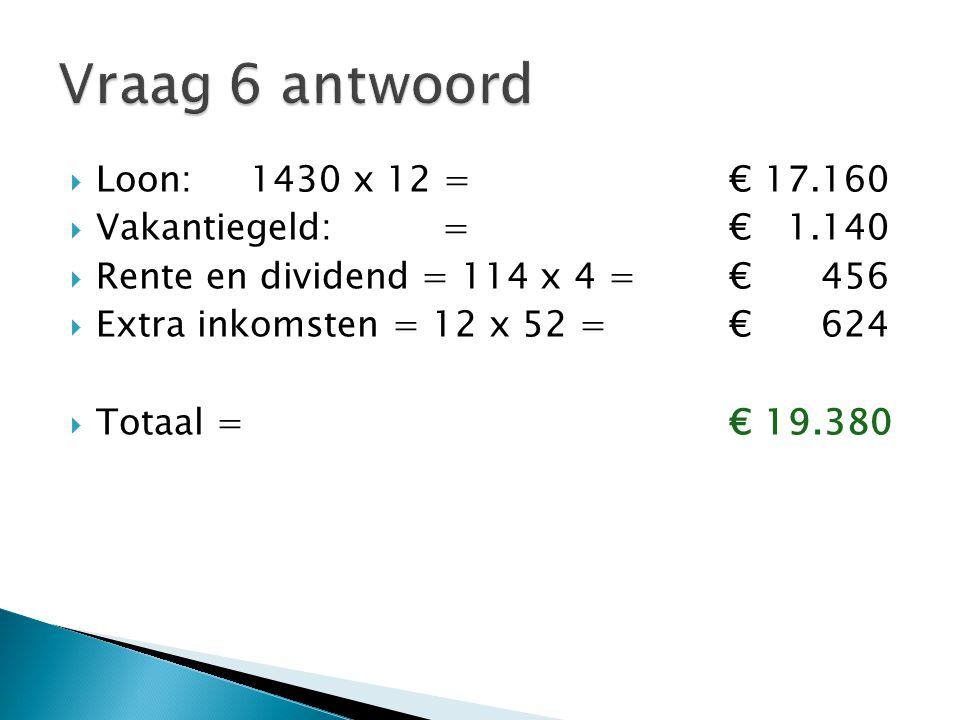  Loon:1430 x 12 = € 17.160  Vakantiegeld:= € 1.140  Rente en dividend = 114 x 4 = € 456  Extra inkomsten = 12 x 52 = € 624  Totaal = € 19.380