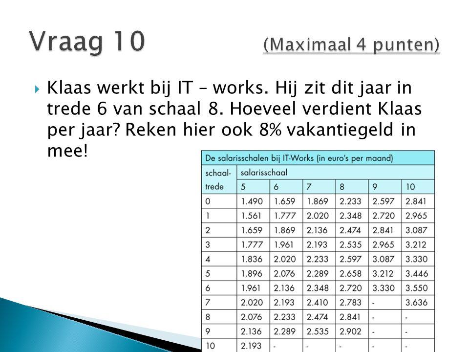  Klaas werkt bij IT – works.Hij zit dit jaar in trede 6 van schaal 8.