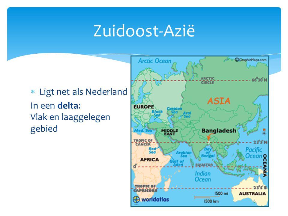  Ligt net als Nederland In een delta: Vlak en laaggelegen gebied Vele vertakkingen die uitmonden in zee.