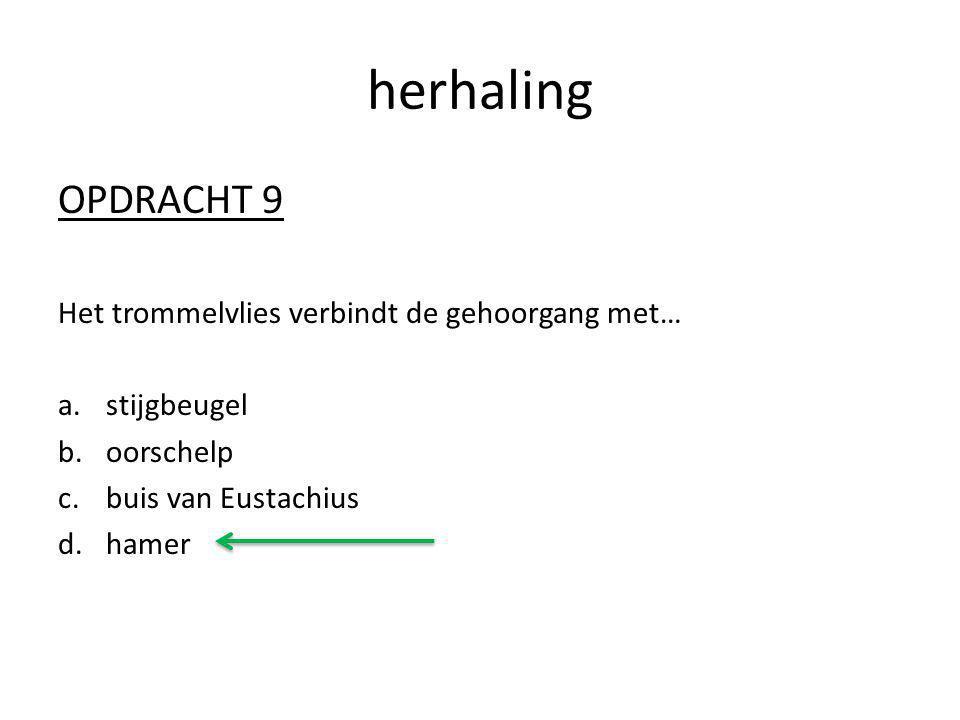 herhaling OPDRACHT 9 Het trommelvlies verbindt de gehoorgang met… a.stijgbeugel b.oorschelp c.buis van Eustachius d.hamer
