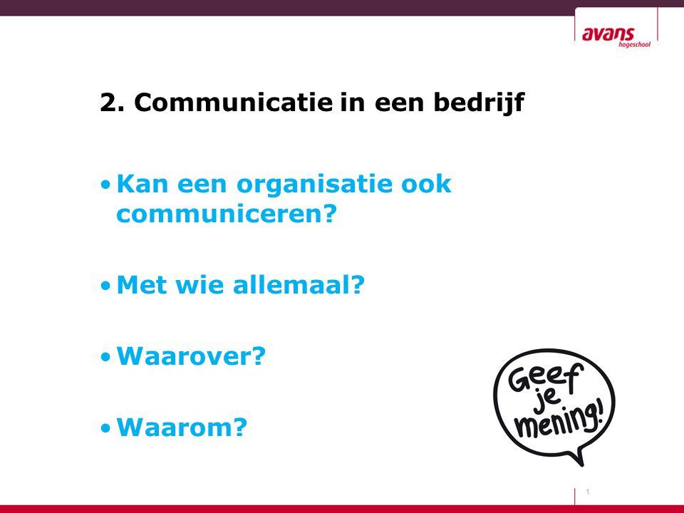 2. Communicatie in een bedrijf 1 Kan een organisatie ook communiceren? Met wie allemaal? Waarover? Waarom?