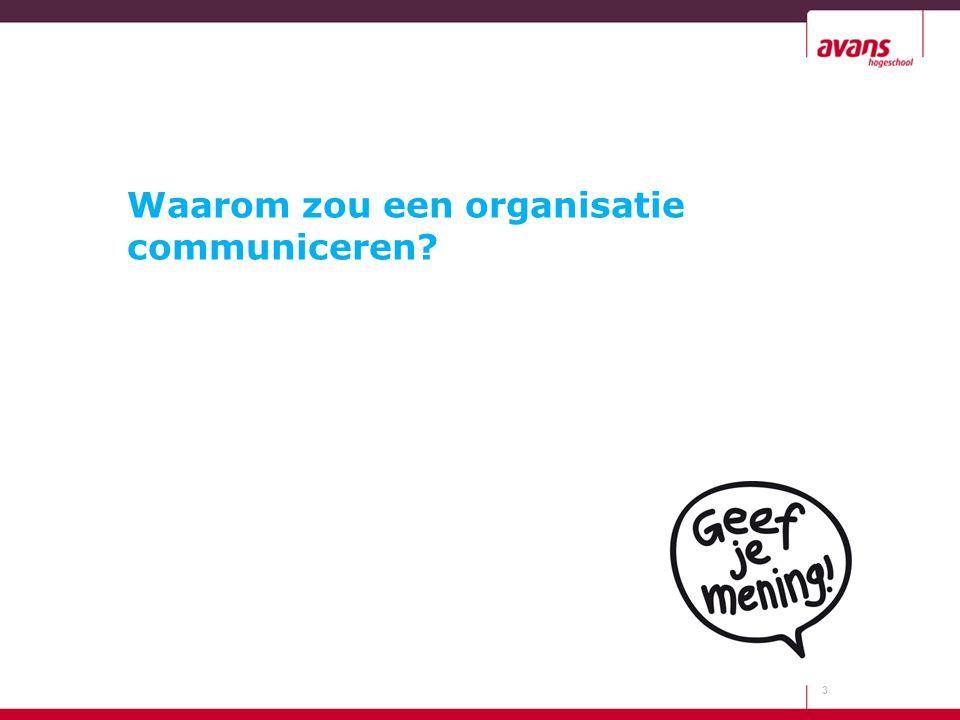 Waarom zou een organisatie communiceren? 3